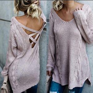Sweaters - Cross Back lightweight Mauve sweater
